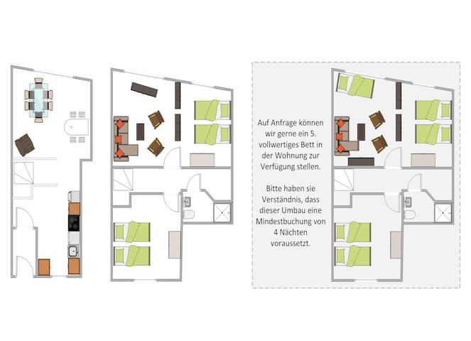 Dies ist der Grundriss unserer Wohnung ...
