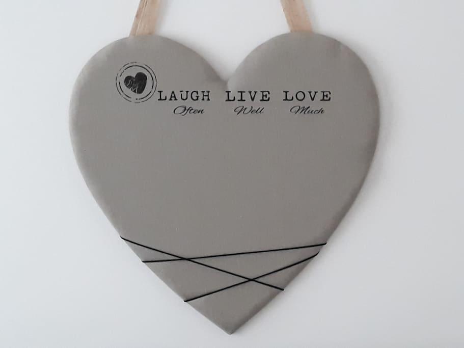 Heart decoration in bedroom 1.