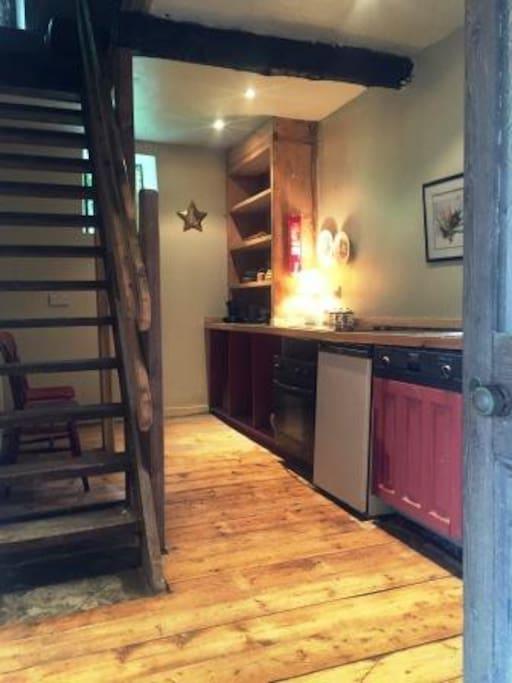 Kitchen - hob, sink, fridge