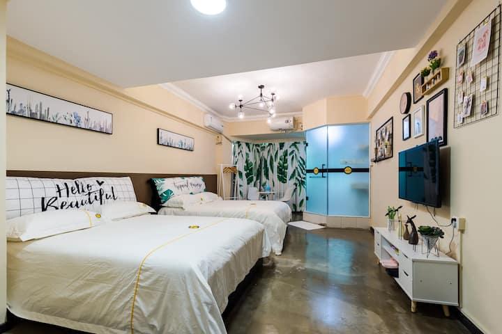 莫默精品公寓(东门晒布店)-北欧风情小清新双床房