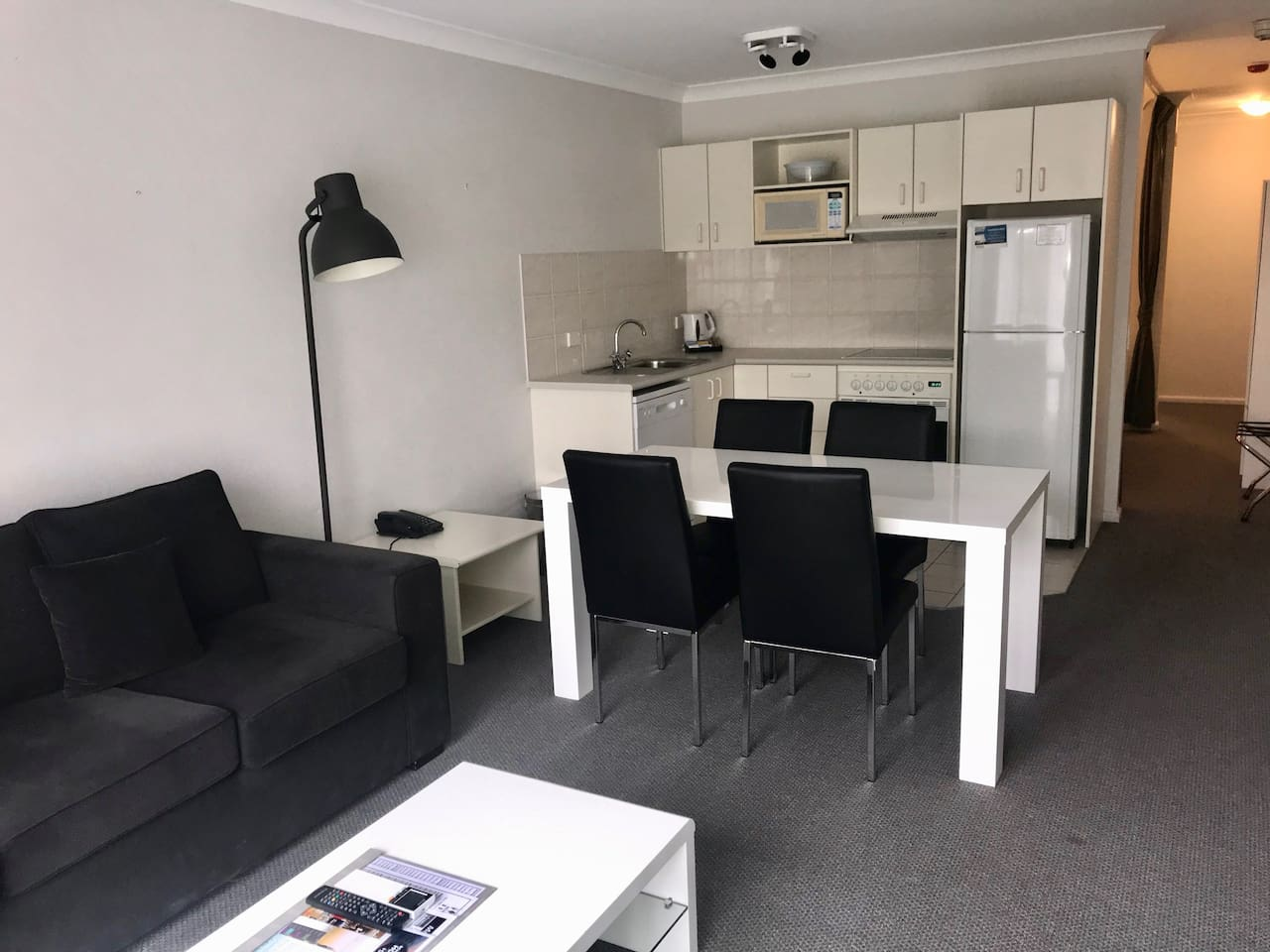 lounge room, dining, fully equipped kitchen