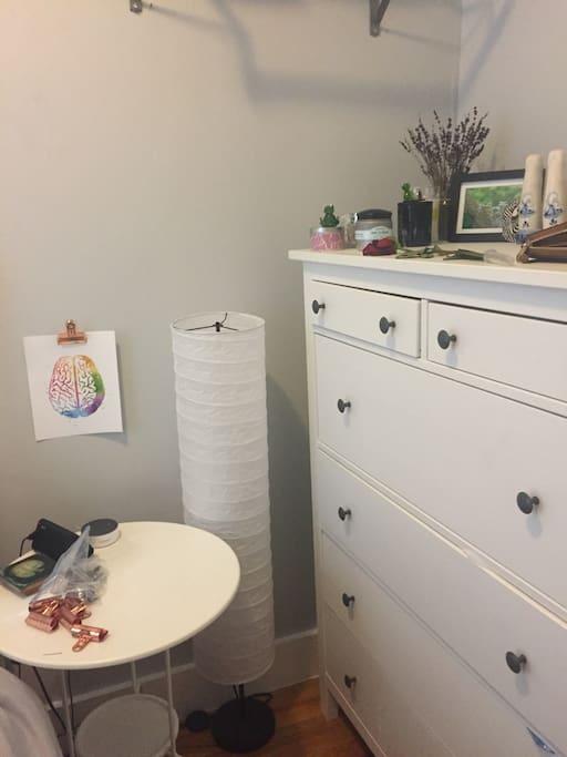 Large dresser in bedroom