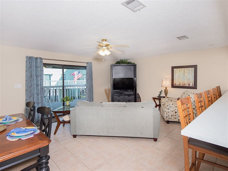 Cool tile floors line the lower level of this spacious unit.