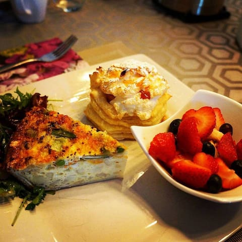 Veggie quiche with fresh picked peach puffed pastry.