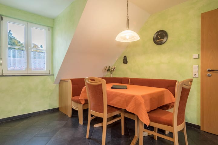 """Well-Furnished Apartment """"Apfelblüte"""" on Farm close to Lake Constance with Wi-Fi, Terrace, Garden & Pool; Parking Available"""