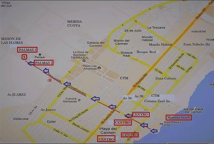 Mapa para llegar. estamos a tan solos 10 minutos manejando de la playa, todo recto sobre la Avenida Constituyentes