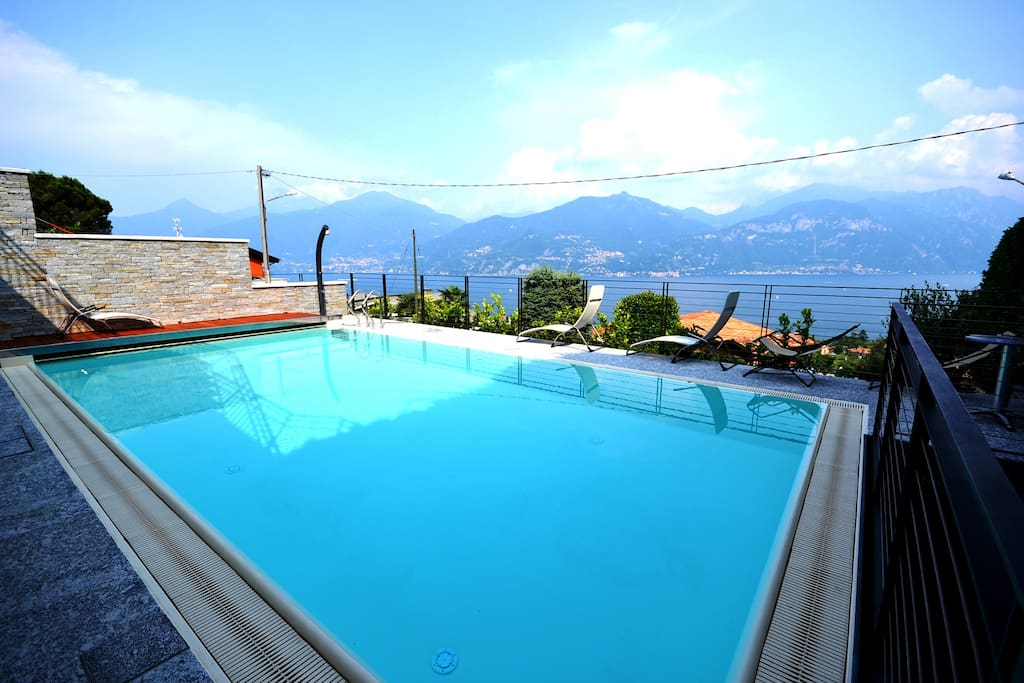 The swimming pool with the view of the lake