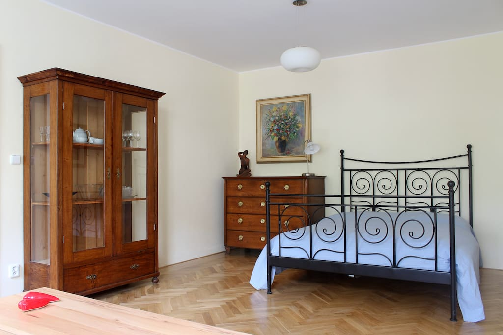 Fresh combination of old and new - do you like it as much as we do? Living room/bedroom with our large double bed