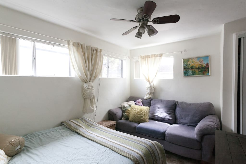 Bedroom with couch and tv.