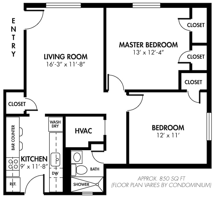 The Big Awesome 2BR/1BA Condo (A)