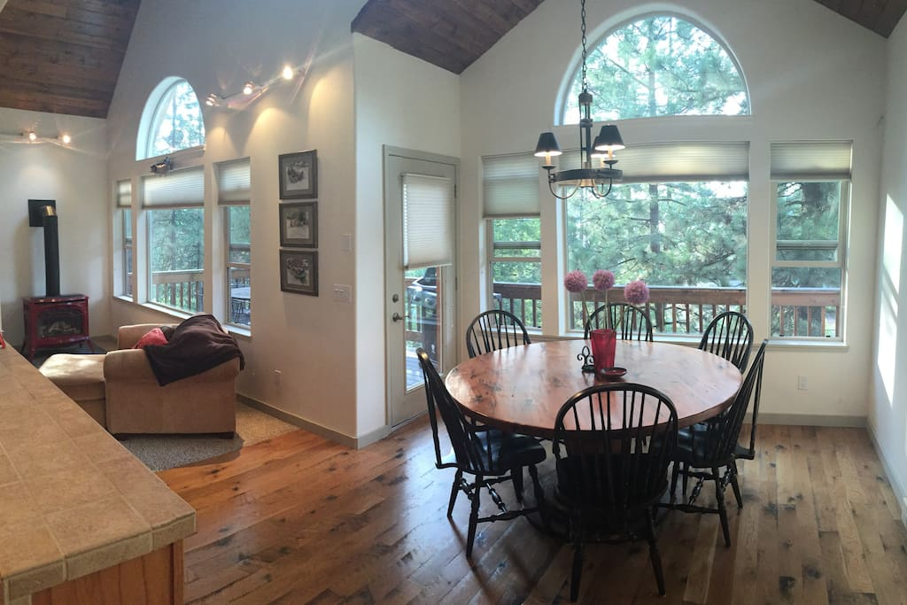 Dining and living area with great views