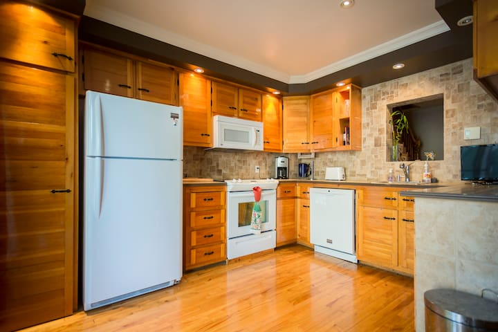 Our nice and charming kitchen where you are more than welcome to cook your own food, don't be shy!