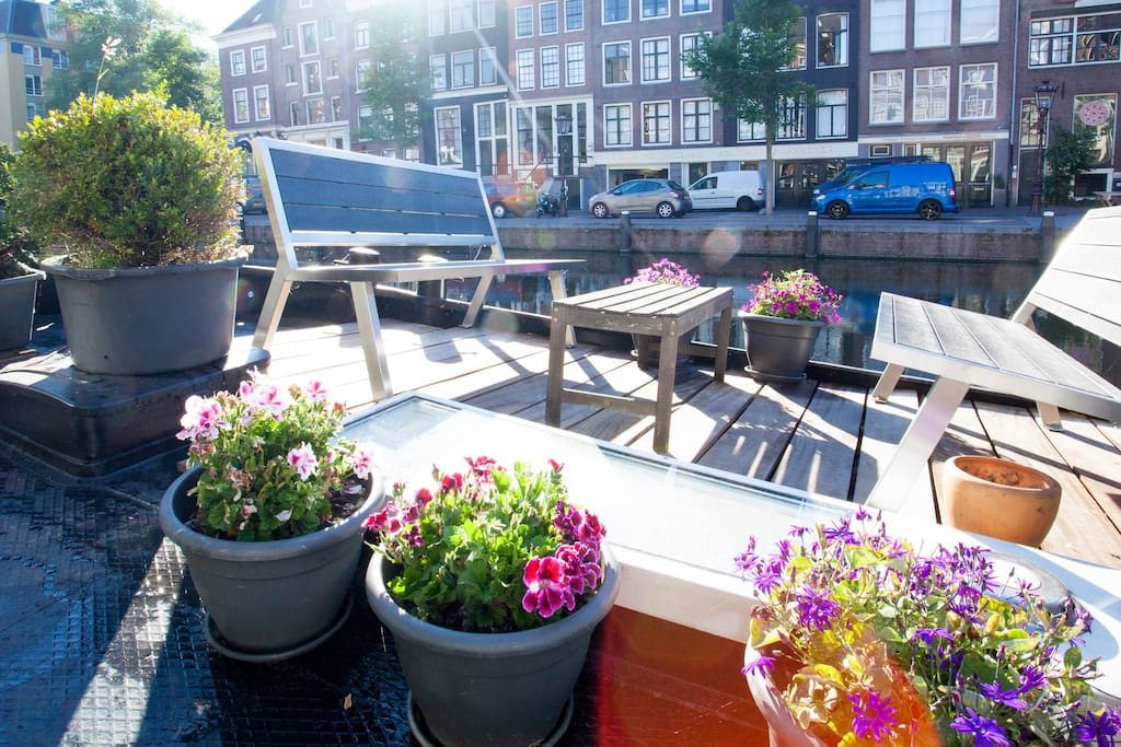 private terrace overlooking canal