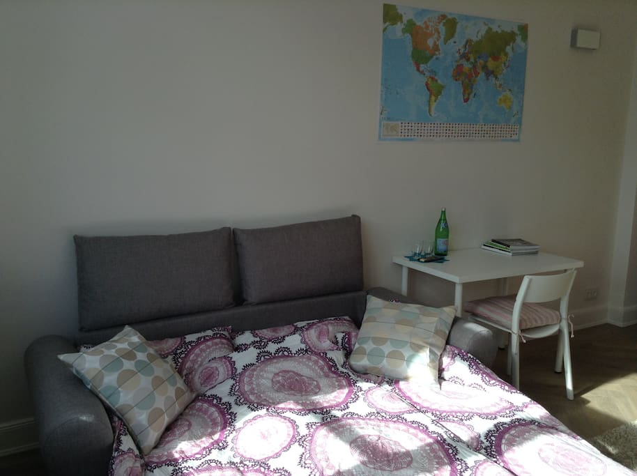 Sofa bed with comfy cushions