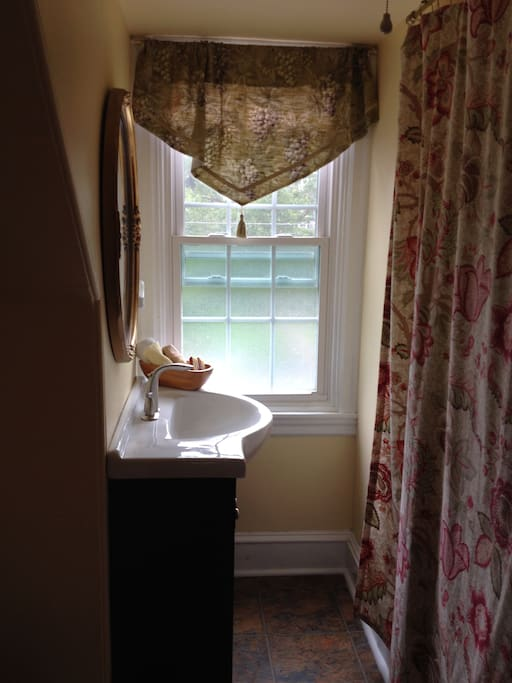 Single full bath on same floor with tub/shower combination, sink and commode. Towels, soap and shampoo provided.
