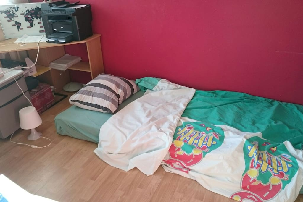 One of your beds with good mattress. More space now