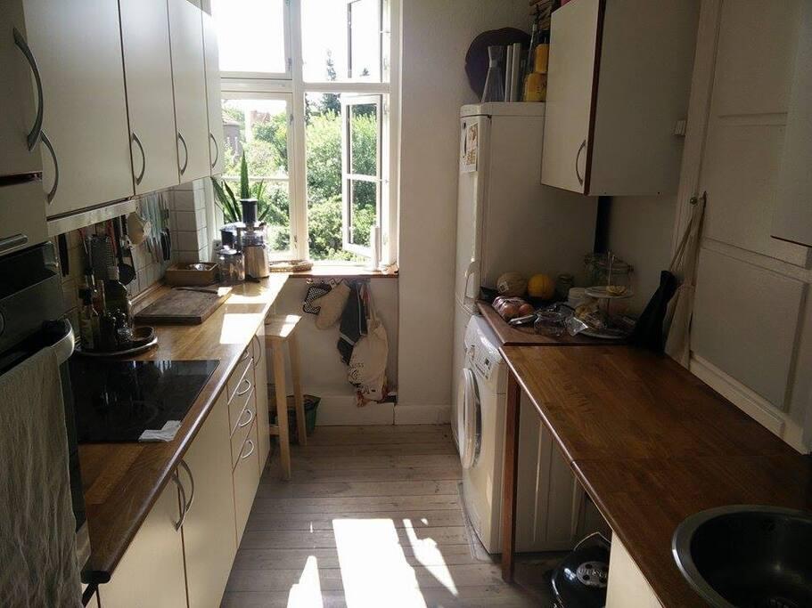 Nice big kitchen with view over garden