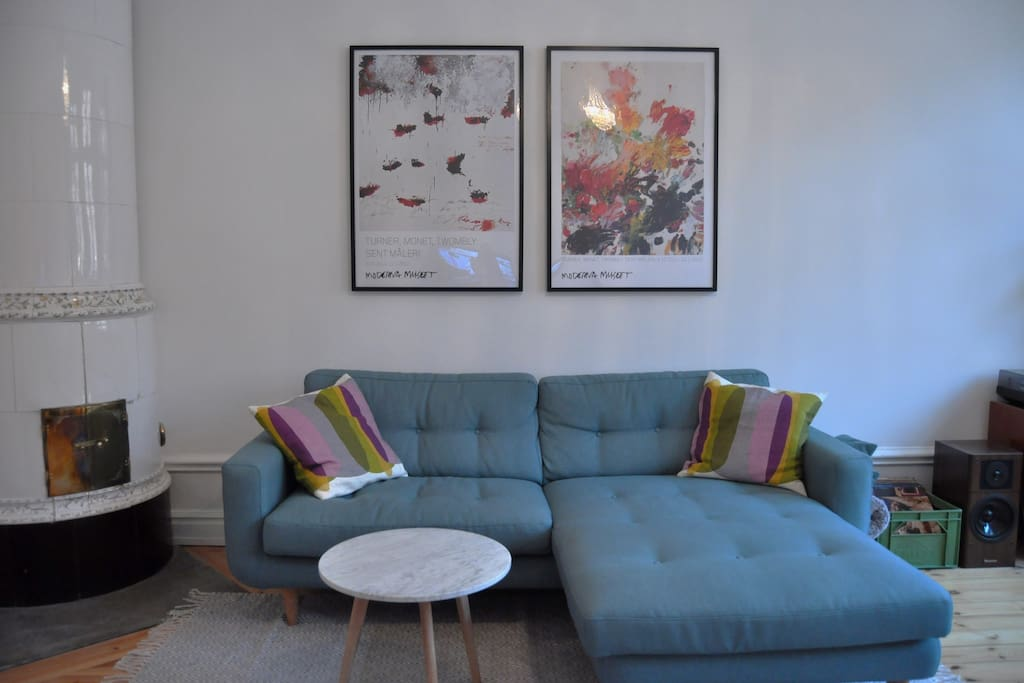 Comfy sofa in Scandinavian style.