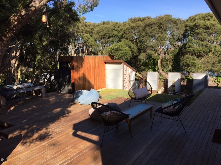 Back deck and bugalow