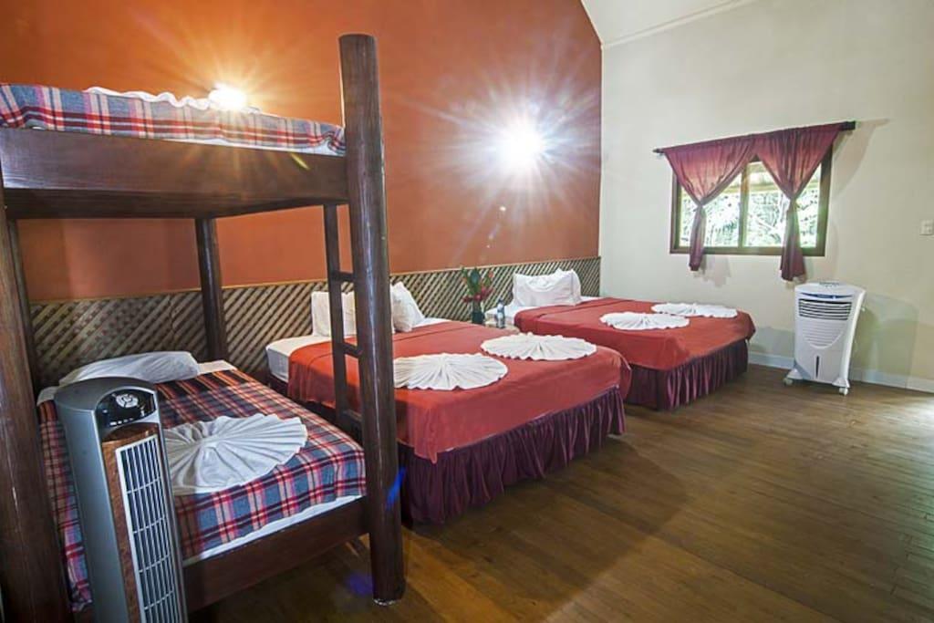 Cuarto para 4 personas.  2 camas queen y una litera.