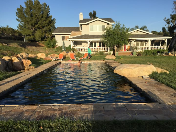 Country sunset view home & pool