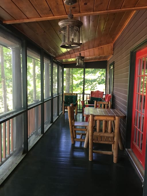 Pine cottage screened front porch