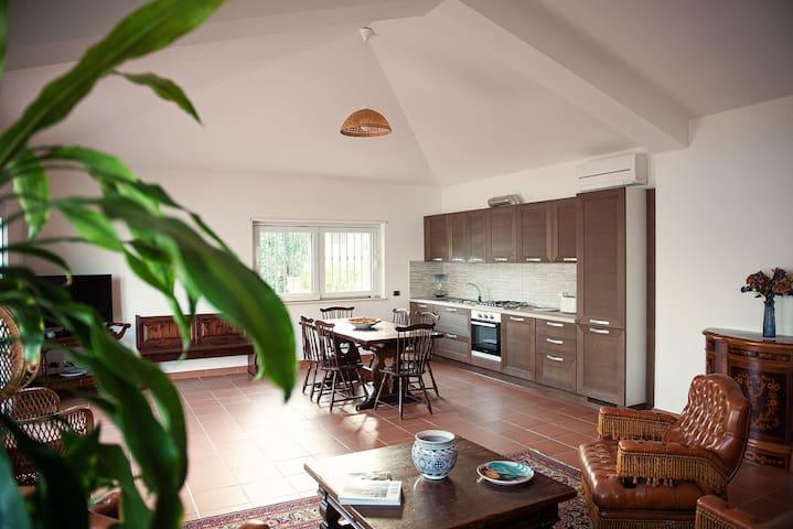 The double living room sea view, with open space kitchen - Il salone doppio, vista mare, con cucina open space