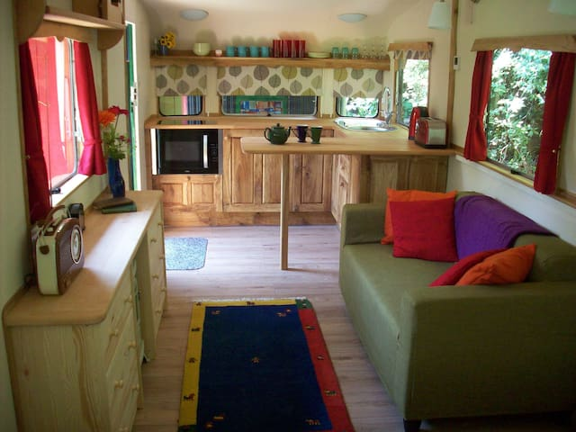 Kitchen and sitting area of the caravan