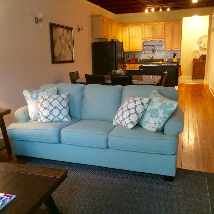 """Beautiful living room with queen sleeper sofa and additional sofa.  37"""" TV with Comcast Xfinity Preferred Double Play. 220 channels with HBO on Demand, plus Apple Lightening cable with HDMI connector for Neflix, Amazon, or other streaming services."""