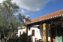 the entrance of farm house