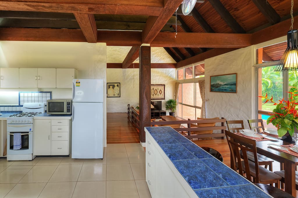 Well equipped gourmet kitchen with direct outdoor access