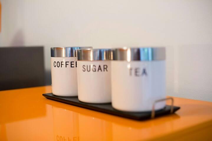 ...and sugar, coffee and chamomile tea.