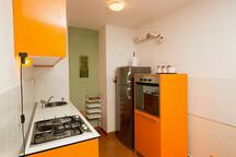 Kitchen is fully equiped with oven, gas stove, fridge with freezer but not the dishwasher.