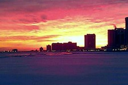 Atlantic City water view sunset