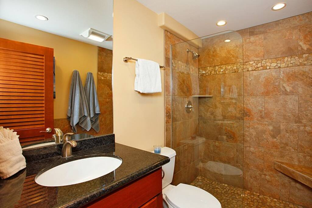 The freshly remodeled bathroom includes granite counters and an inviting walk-in stone shower.