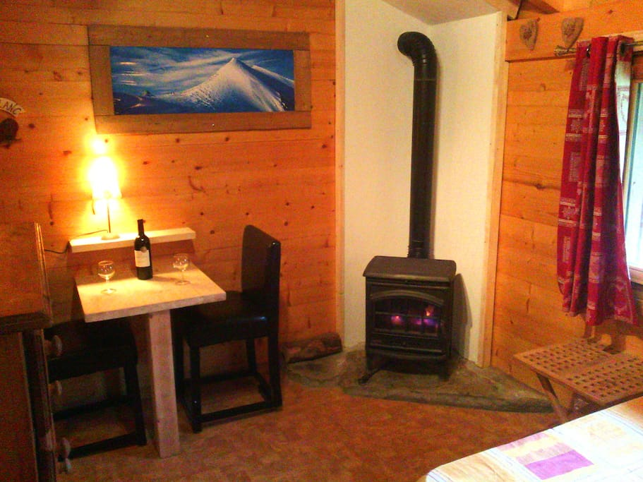Log fire and eating area
