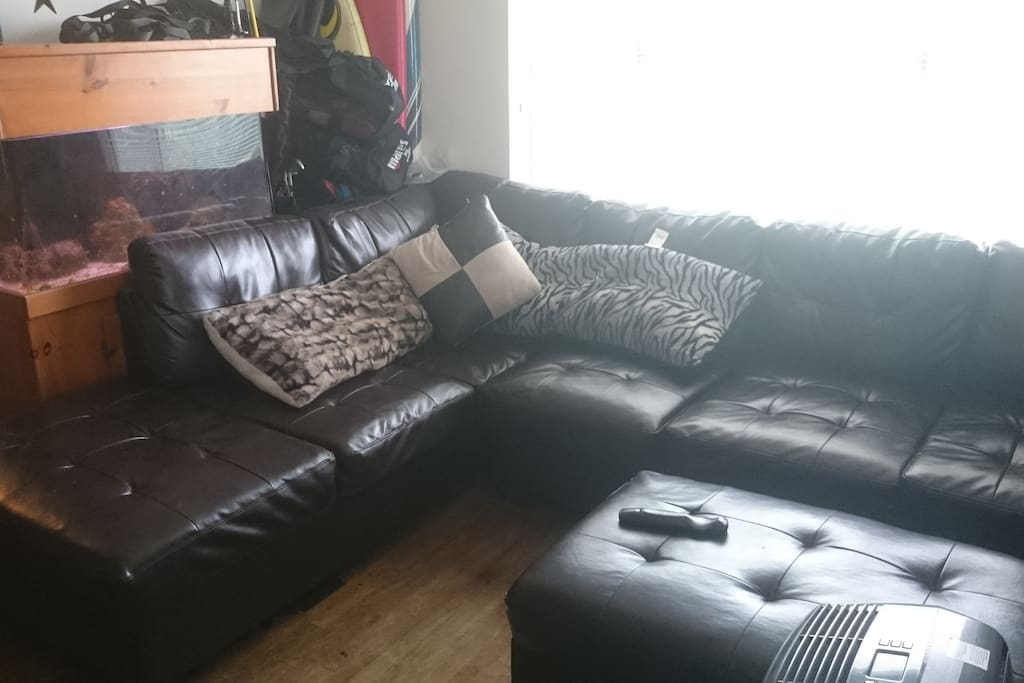 Large comfortable couch living room area.