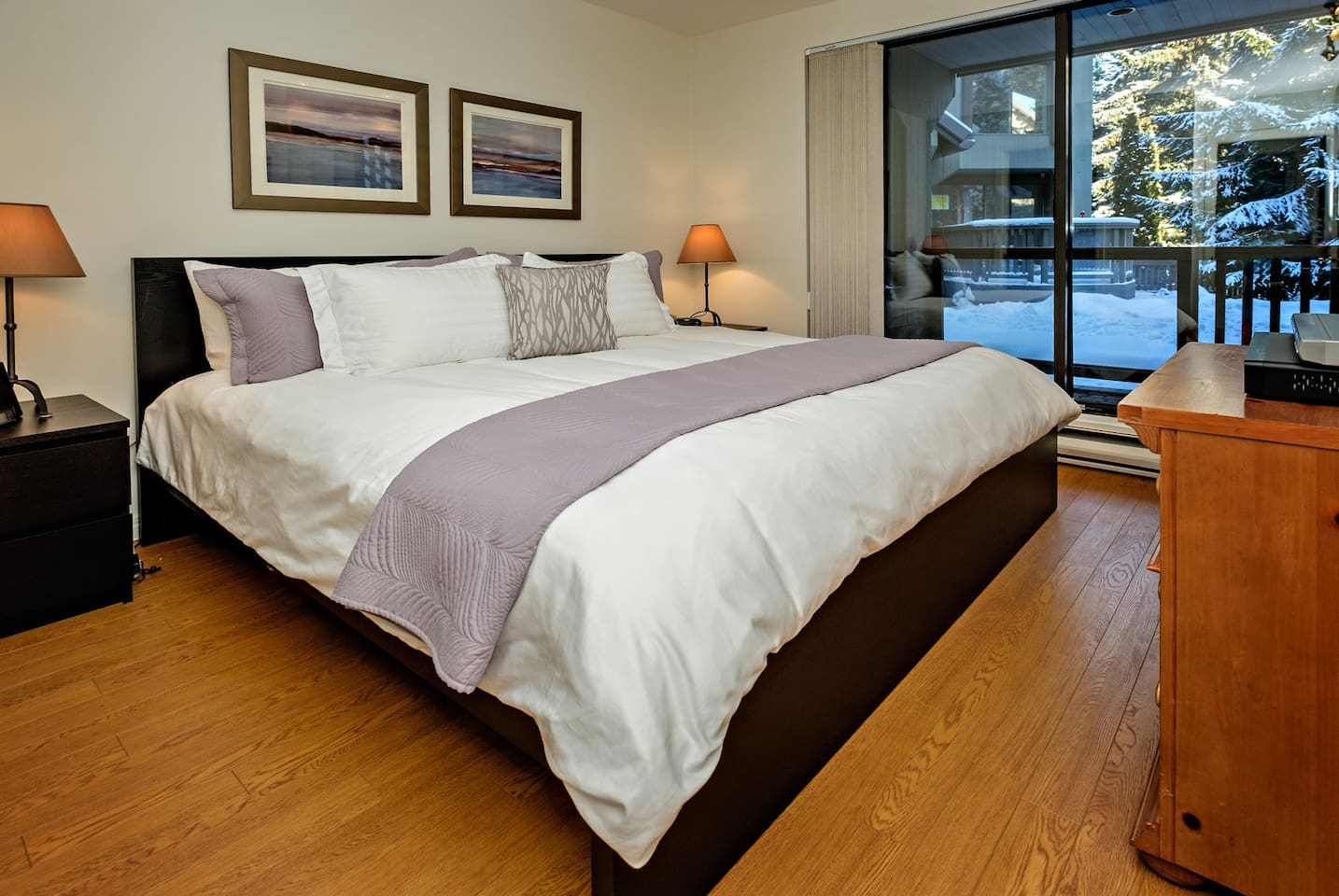 Master bedroom with new king bed, new Leesa king mattress, ensuite bathroom and 48 inch flatscreen HDTV