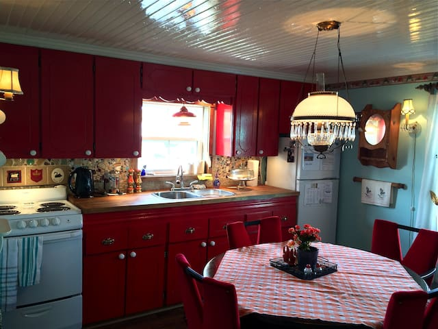 The cozy eat-in kitchen with a 1950's flair