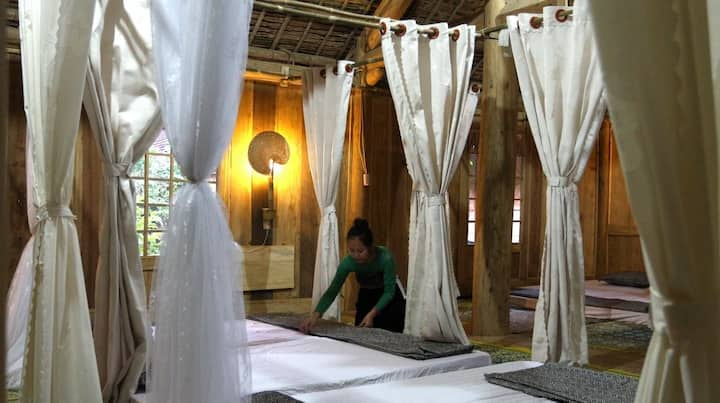 Dormitory on Thai wooden stilthouse