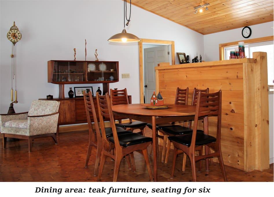 Dining area - open concept - teak dining room set - seats six