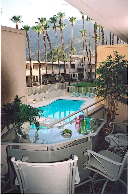 Enjoy that cocktail on your private terrace overlooking the pool deck and breathtaking views of Mount San Jacinto rising majestically over the courtyard palms.