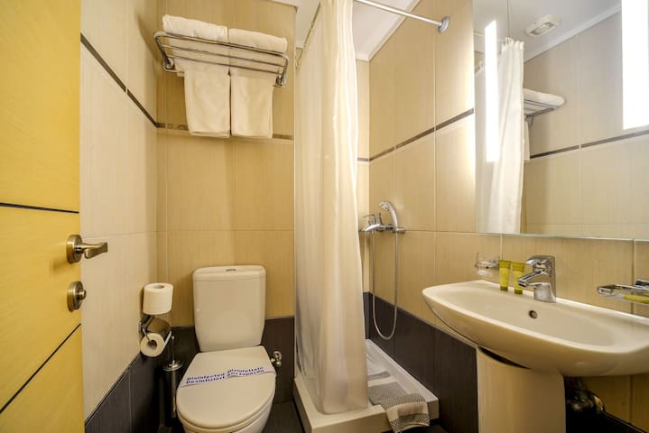 The Budget double room features 1 double small bed and is ideal for the couple that requires a short urban stay in downtown Thessaloniki. Approx. size is 20 sq meters