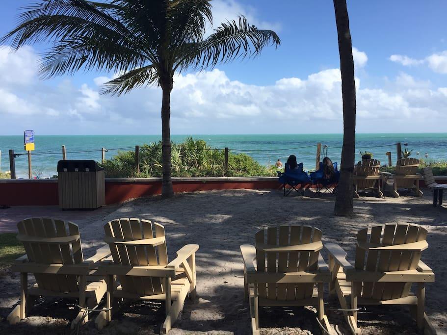Armchairs facing the ocean