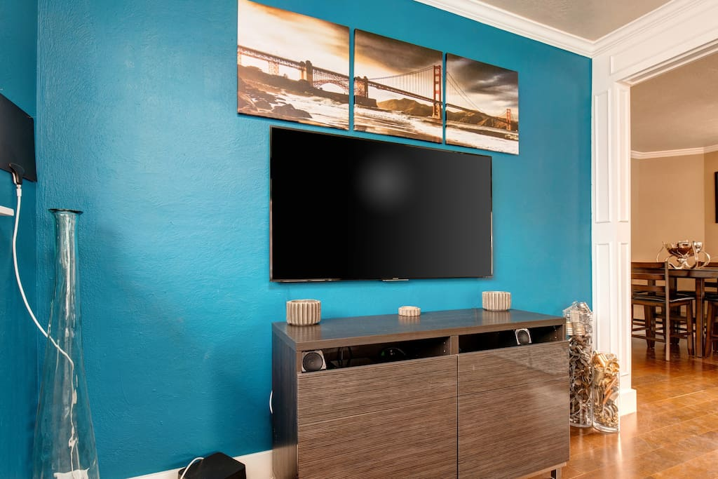 """A 60"""" flat screen TV will keep the entertainment flowing."""