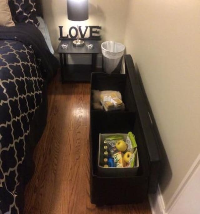 Guest bedroom ottoman for additional storage
