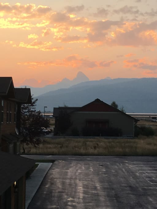 Sunrise view of Tetons from main balcony