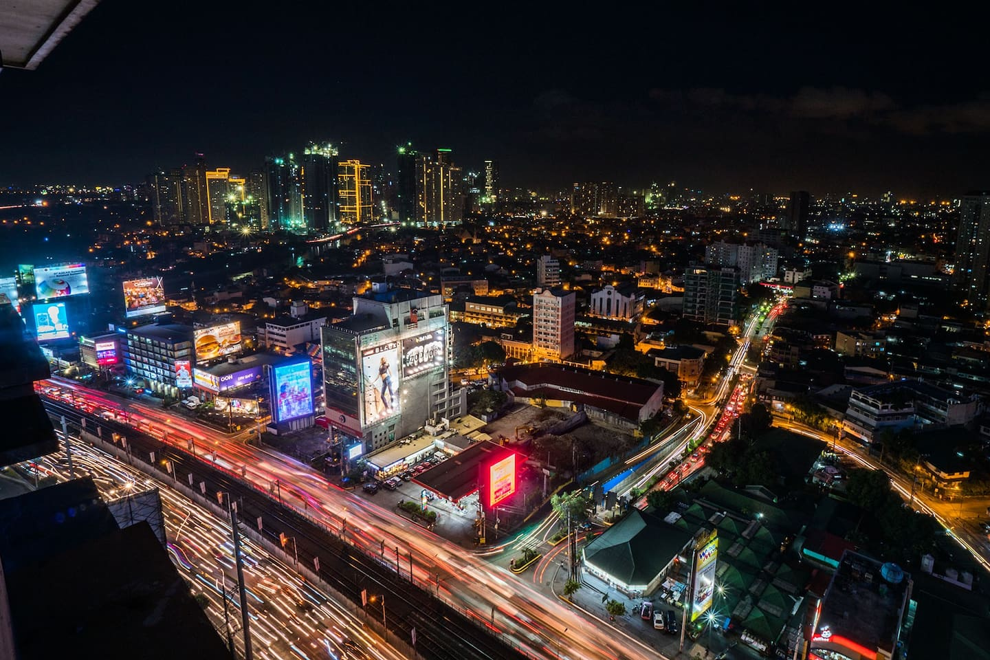 Actual night time view from the apartment's window.  Welcome to Manila!
