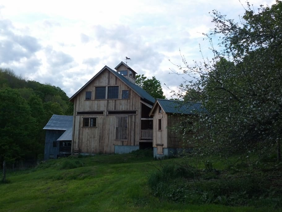 Barn and Spring house. pasture is 3 acres and a fire pit by the Spring house