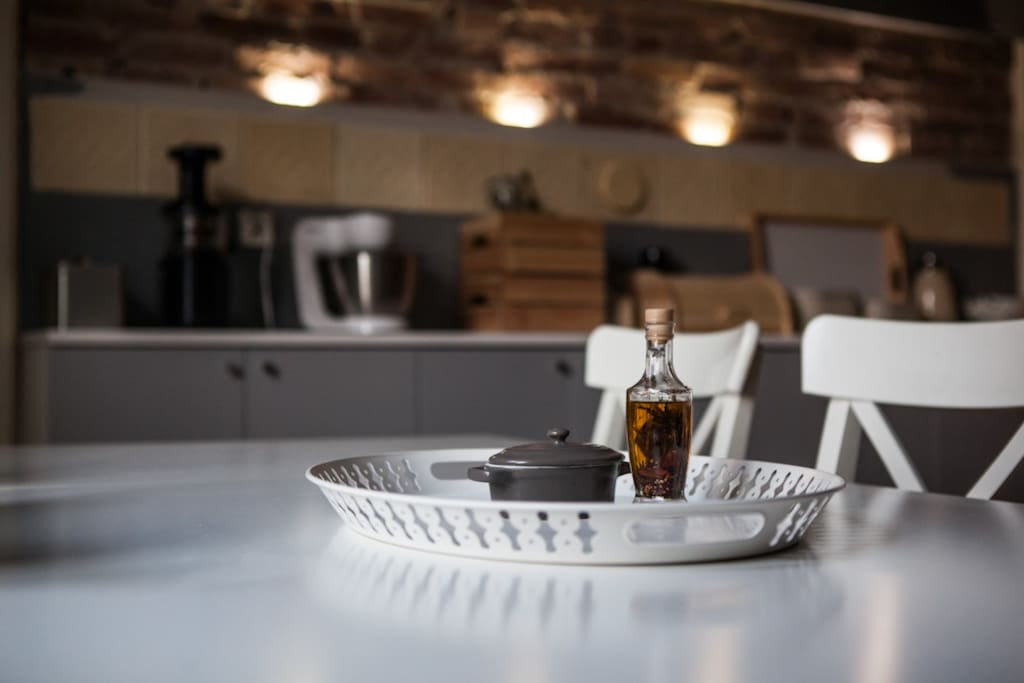 Big silesian stylish kitchen with big table fo 8 persons